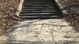 Stone and concrete staircase in the park Footage