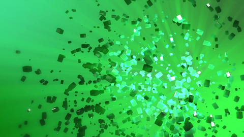 Abstract looped animated background based on the movement of acid-green cubes of Animation