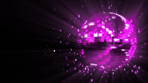 Abstract looped animated background: spinning purple-violet glow disco ball comp CG動画素材