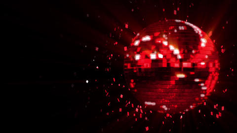 Abstract looped animated background: spinning dark-red glow disco ball composed  Animation