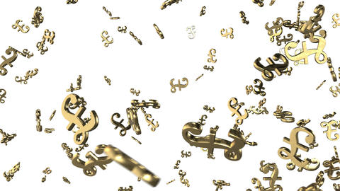 Looped animated background with chaotic spinning 3d golden pound sterling marks. Animation