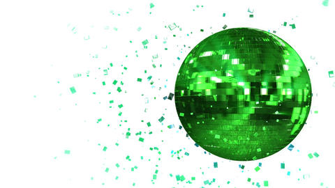 Abstract looped animated background: spinning green glow disco ball composed of  Animation