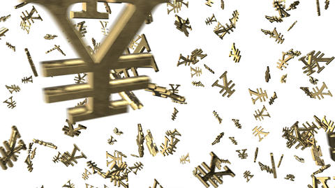 Looped animated background with chaotic spinning 3d golden yen-yuan marks Animation