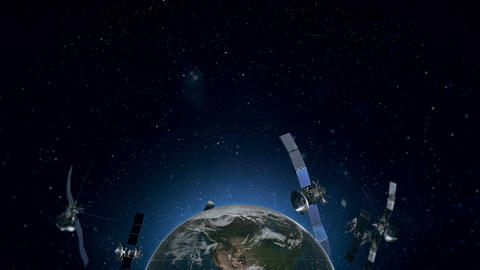 Looped Animation of Earth Satellites Below View HD Animation