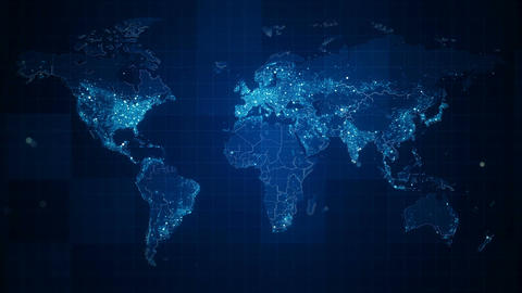 Global Blue World Map Loop HD Animation