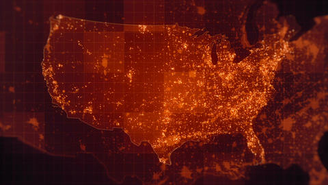 USA Red Map Loop HD Animation