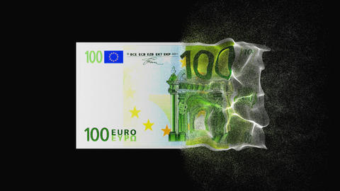 Banknote 100 euro teleports, animation with alpha channel Animation