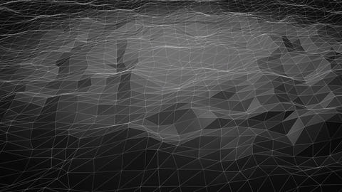 Black abstract polygonal background with shifting wireframe lines Animation