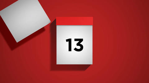 Red monthly calendar on a red background with pages tearing off Animation