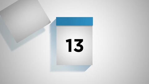 Blue monthly calendar on a white background with pages tearing off Animation