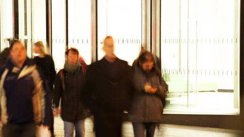 Time-lapse of Pedestrians walking at night Footage