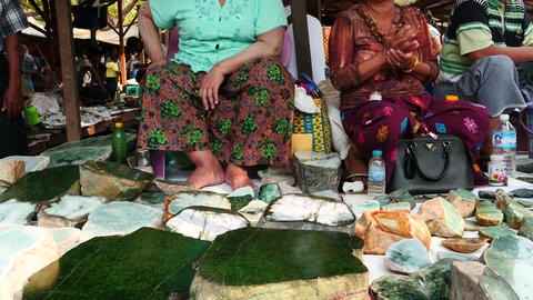 Jade selling and many stones in Mandalay city of Myanmar Footage
