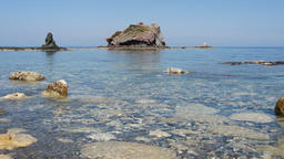 Panoramic view of sea with waves, rocks and clouds, island of Cyprus. Concept tr Filmmaterial