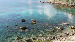 Panoramic view of sea with waves, rocks and clouds, island of Cyprus. Concept tr Footage