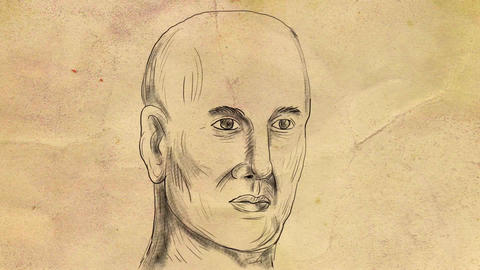 Bald Caucasian Male Head 2D Animation Animation