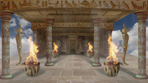 Egyptian Temple of Fire and The Gods 29fps VJ Loop LIMEART Footage