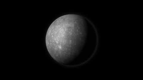 Planet Mercury rotating on a black background Animation