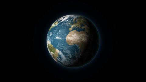 Realistic Earth rotating on a black background