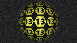 Decorative black and yellow video with rotating sphere - number 13 Animation