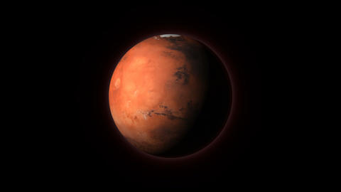 Planet Mars seen from space spinning around its axis Animation