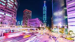 Taipei cityscape at twilight in Taiwan city Footage