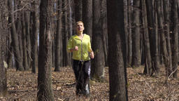 Young woman trail running Footage