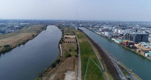 Landscape of the river seen from the sky Filmmaterial