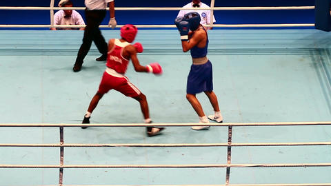 Boxing match RED - Ashish, India; BLUE- Margarian S. Russia Filmmaterial