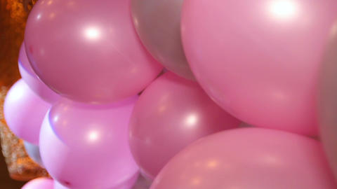 Many colorful birthday party helium balloons Footage
