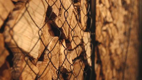 Stack of brown wood logs Footage