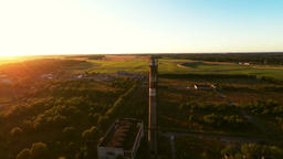 Big industrial pipe, summer landscape. Aerial footage Filmmaterial