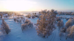 Sunset. Winter landscape. Low altitude flight between the trees. Slow motion Footage
