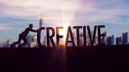 Creative - Businessman silhouette pushing thematic title Animation