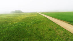 Fog over green fields, aerial footage Footage
