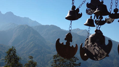 Buddhist bells fluttering in the wind Live Action
