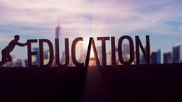 Education - Businessman silhouette pushing thematic title Animation