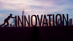 Innovation - Businessman silhouette pushing thematic title Animation