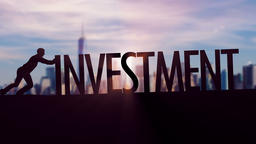 Investment - Businessman silhouette pushing thematic title Animation