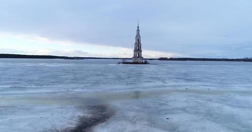 Flooded Belfry. Kalyazin Footage
