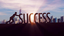 Success - Businessman silhouette pushing thematic title Animation