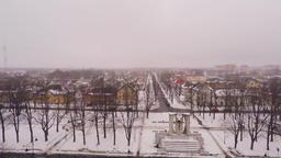 City landscape. Flight over big monument. Aerial footage ビデオ