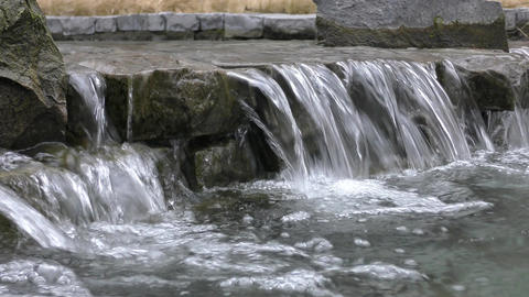 City Park. The flow of water over the rocks Footage