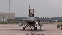 F16 fighting falcon jets leave Denver International Airport Footage