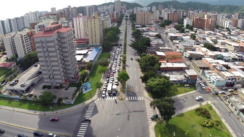 Aerial view of City Buildings and Intersection 01 Footage