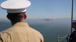 Marines, Sailors Man Rails of USS America During Fleet Week San Francisco Footage
