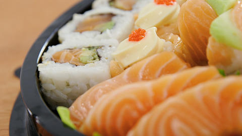 Tray of assorted sushi Live Action