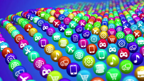 Graphic media icons apps for mobile Animation