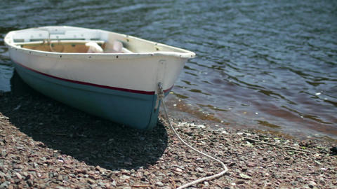 Rowing boat at shore Footage