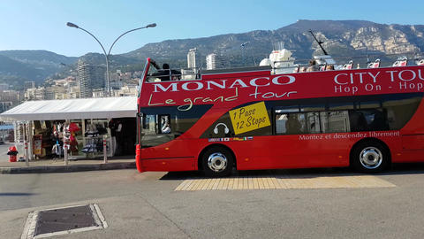 Double-Decker Tourist Bus On The Port Of Monaco Footage