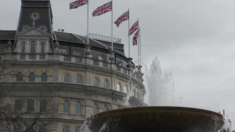 Flags of Britain on a background of a fountain Footage
